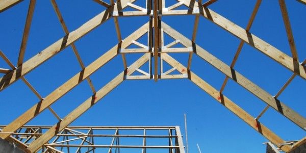 roof trusses with blue sky